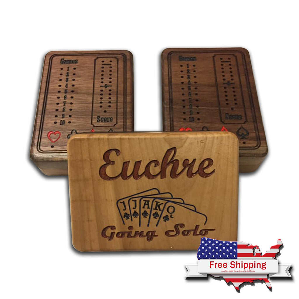Euchre Game Set ~ Card Games ~ Euchre ~ Score Card ~ Game Night ~ Gifts for Him ~ Family Game ~ Wood Games ~ Eurche Board ~ Card Game Board