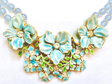 Sandor Pastelblue flower necklace with earrings, 1950's