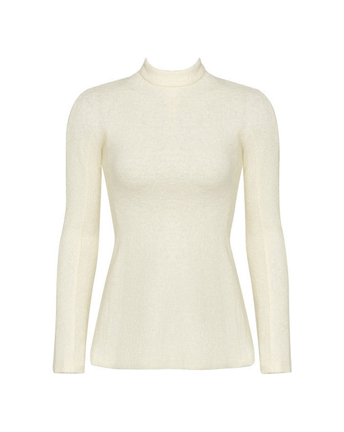 T-Neck Boiled Wool Top
