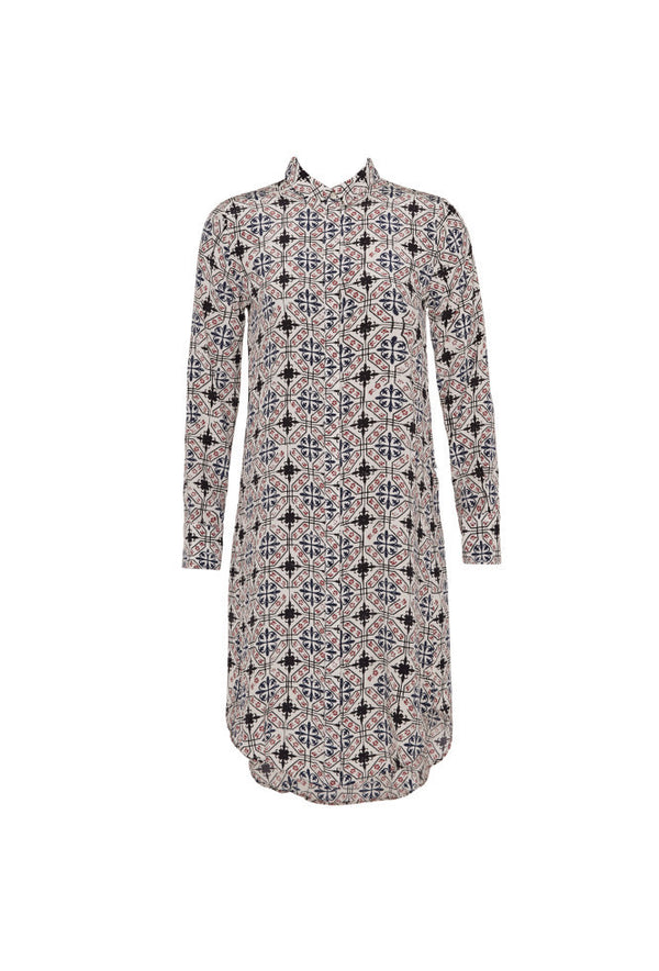 Tile Print Shirt Dress
