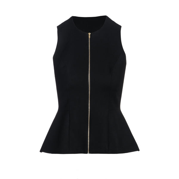 Black Peplum Vest by STEPHANIE RAD