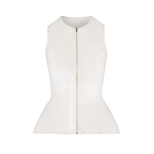 Ivory Peplum Vest by STEPHANIE RAD
