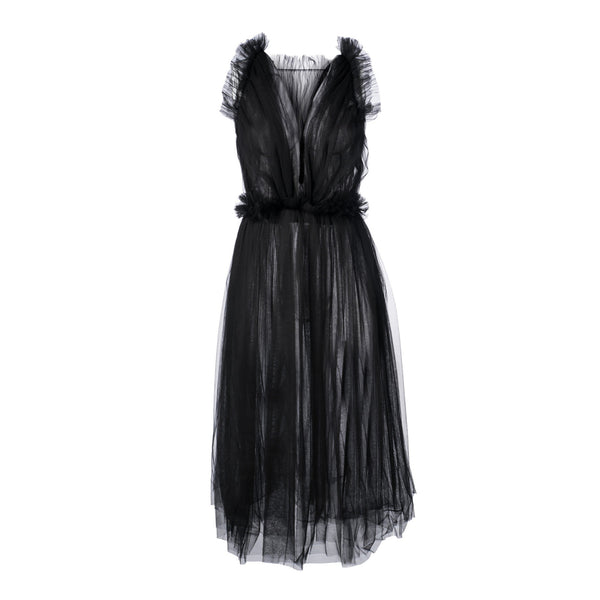 Gathered Tulle Midi Dress