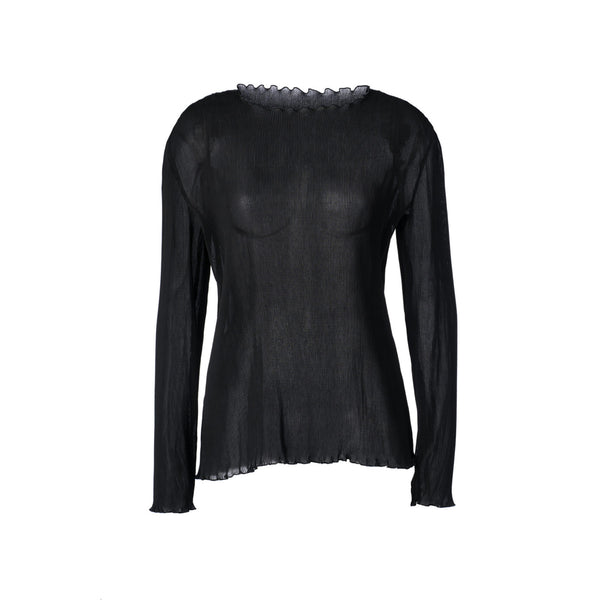 Fine Pleated Long Sleeve Black Blouse by GEORGIA ALICE
