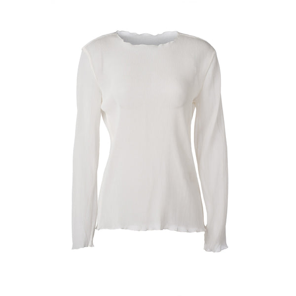 Fine Pleated Long Sleeve White Blouse by GEORGIA ALICE