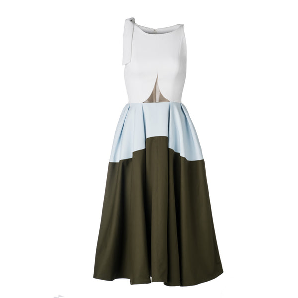Bow Shoulder White Sky Dress