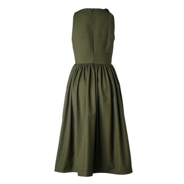 Bow Shoulder Olive Party Dress