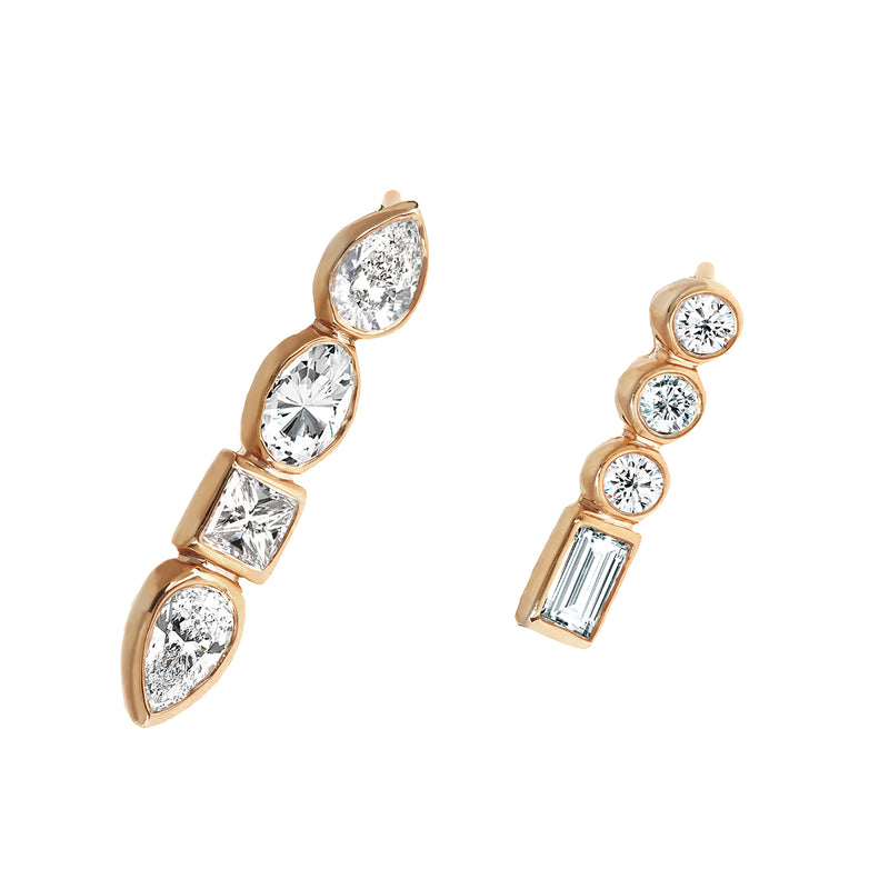 Diamond Mismatched Studs Rose Gold - Stepping Stone Collection by ILANA ARIEL