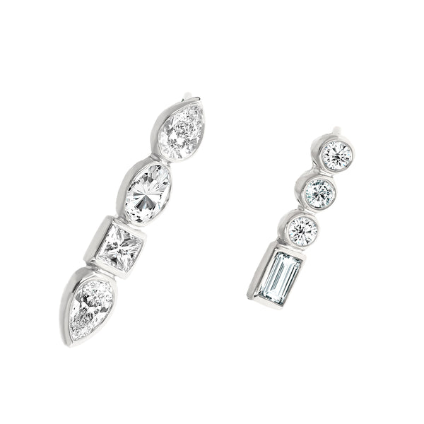 Diamond Mismatched Studs White Gold - Stepping Stone Collection by ILANA ARIEL