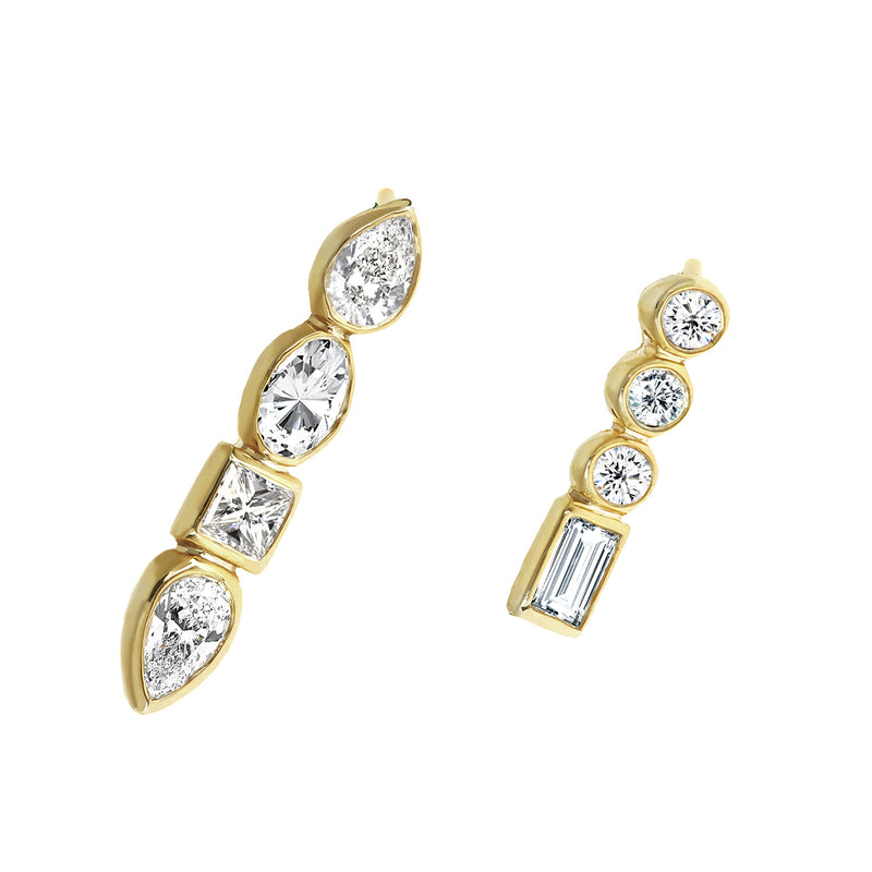 Diamond Mismatched Studs Yellow Gold - Stepping Stone Collection by ILANA ARIEL