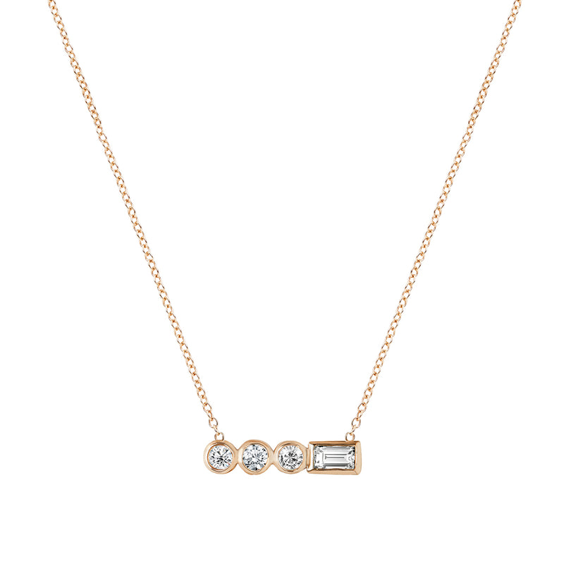 Diamond Stepping Stone Circle Necklace Rose Gold by ILANA ARIEL