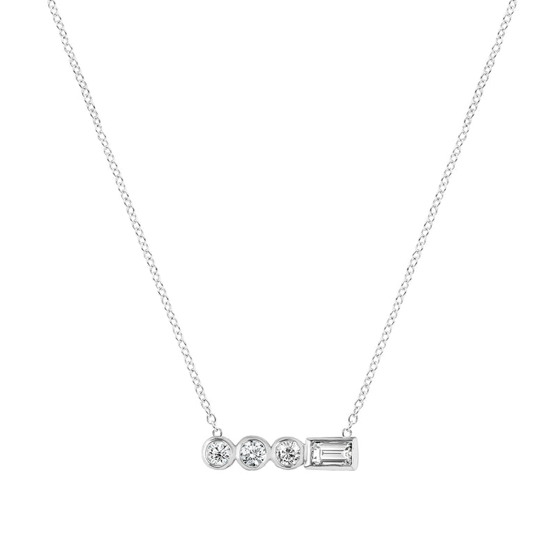 Diamond Stepping Stone Circle Necklace White Gold by ILANA ARIEL