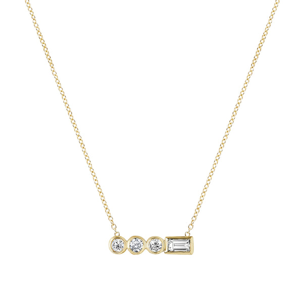 Diamond Stepping Stone Circle Necklace Yellow Gold by ILANA ARIEL