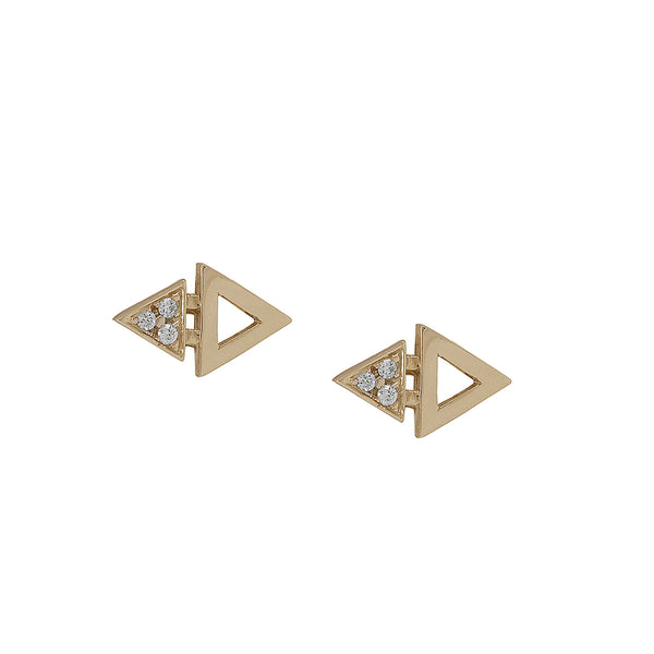 Mini Triangle Studs Yellow Gold by ILANA ARIEL