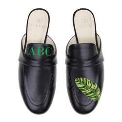 Monogram Palm Leaf Mules in Black Leather