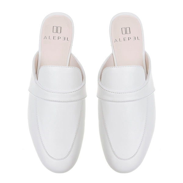 Monogram Mules in White Leather