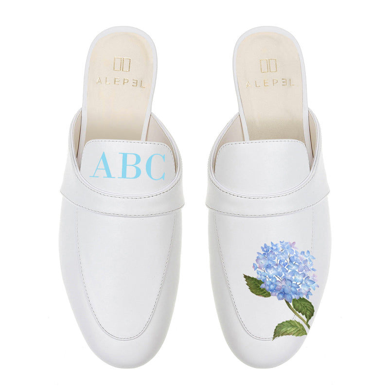 Monogram Floral Mules in White Leather