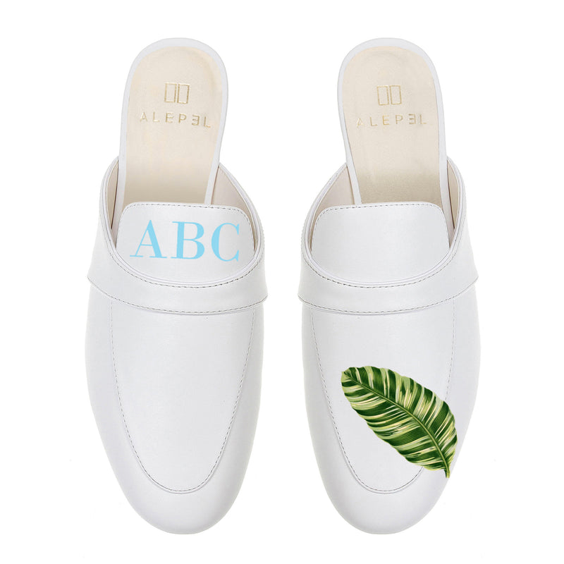 Monogram Palm Leaf Mules in White Leather
