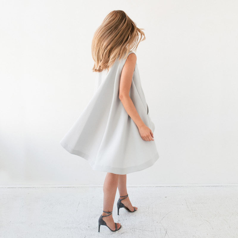 Aves Dove Grey Cape Dress