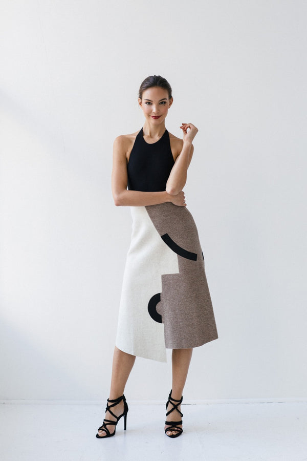 Asymmetrical Print Chillida Skirt I by GAYEON LEE
