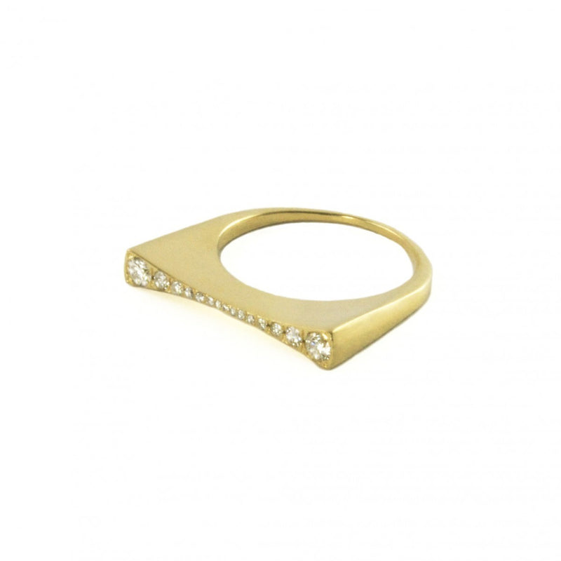 Concave Ring with Diamonds