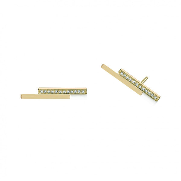 Micropavé Diamond Bar Studs