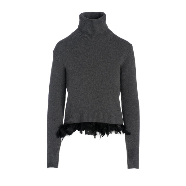 Feather Hem Sweater by MAISON PERE