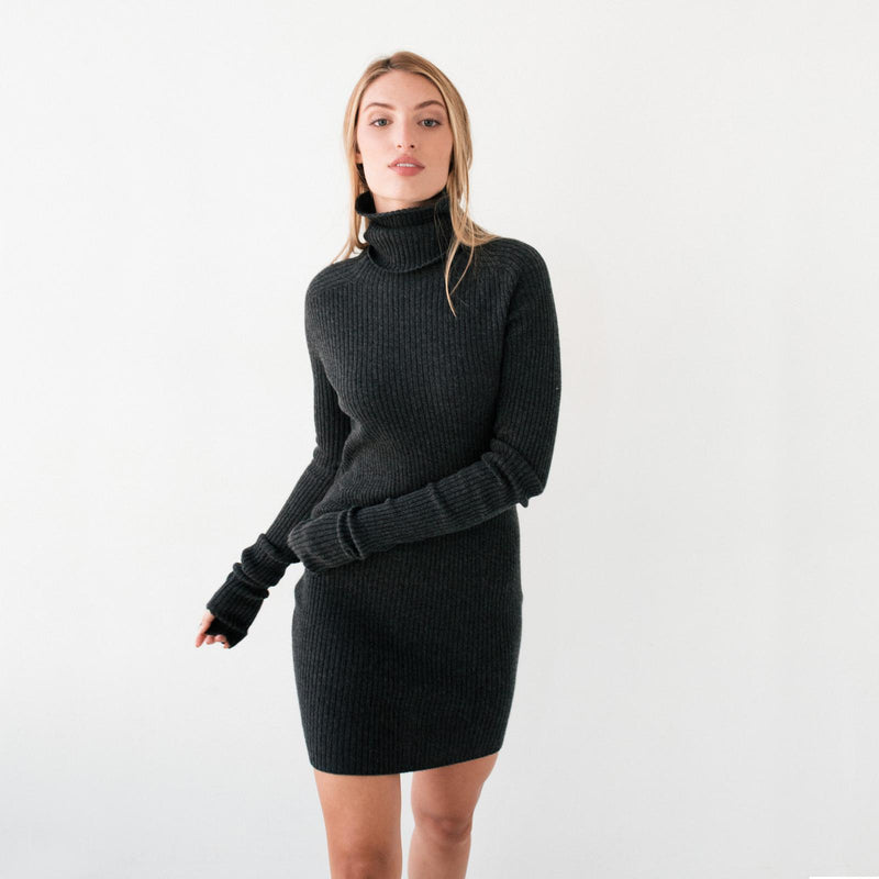 Grey Convertible Turtleneck Sweater Dress