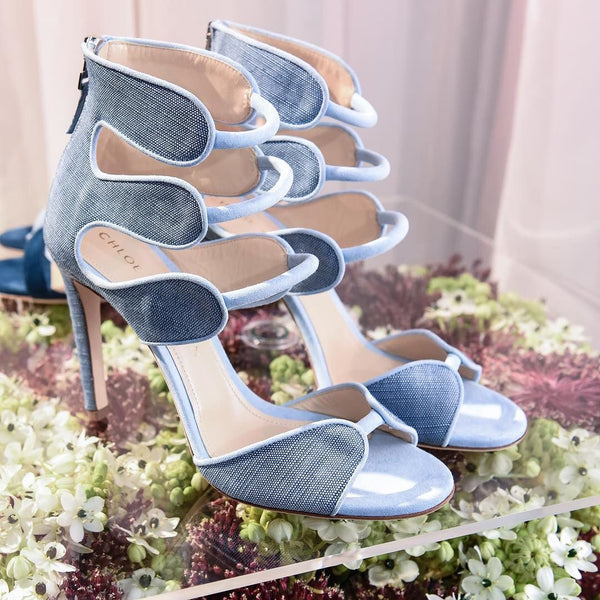 Larkspur Heels in Blue Denim