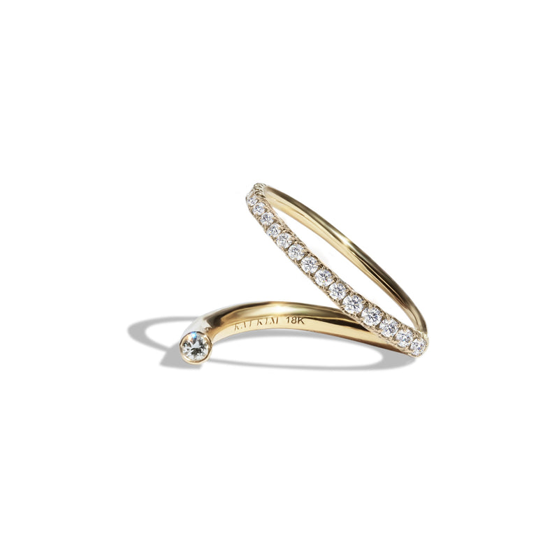 Crescendo Flare Ring - Yellow Gold with Diamond Pavé