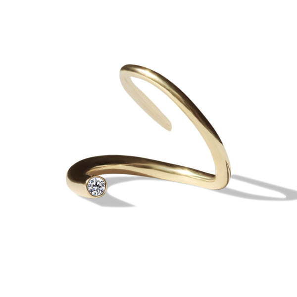 Diamond Crescendo Pin Ring - 18 Karat Yellow Gold