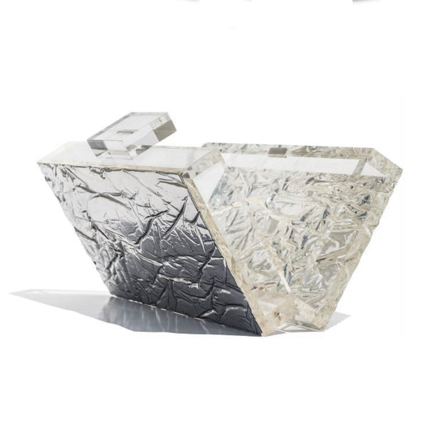 Mirrored Crushed Ice Clutch by L'AFSHAR
