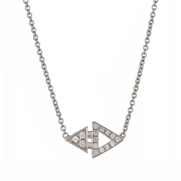 Mini Triangle Necklace White Gold by ILANA ARIEL
