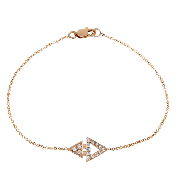 Diamond Mini Triangle Bracelet Yellow Gold by ILANA ARIEL