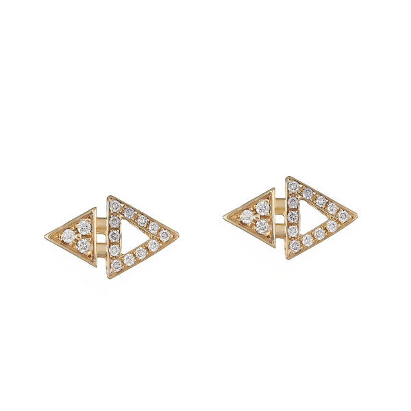 All Diamond Mini Triangle Studs Yellow Gold by ILANA ARIEL