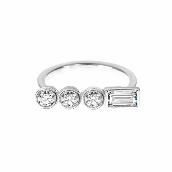 Diamond Circle Ring White Gold - Stepping Stone Collection by ILANA ARIEL