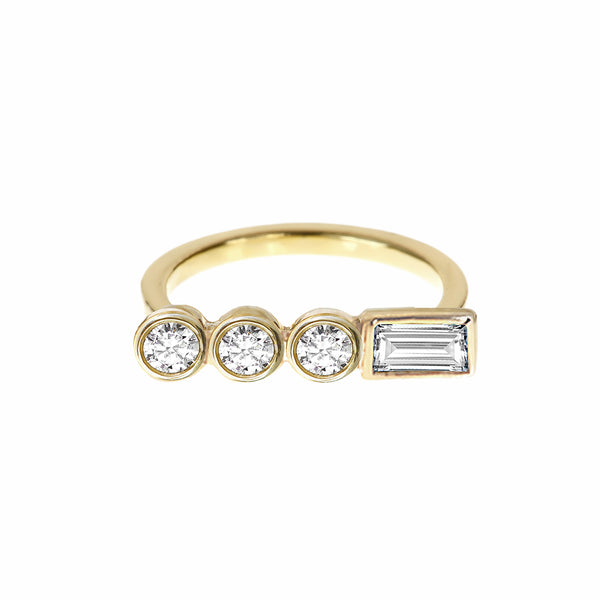 Diamond Circle Ring Yellow Gold - Stepping Stone Collection by ILANA ARIEL