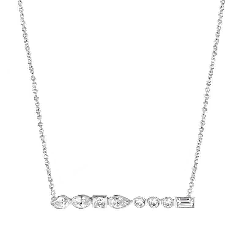 Diamond Long Bar Necklace White Gold - Stepping Stone Collection by ILANA ARIEL