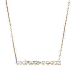 Diamond Long Bar Necklace Yellow Gold - Stepping Stone Collection by ILANA ARIEL