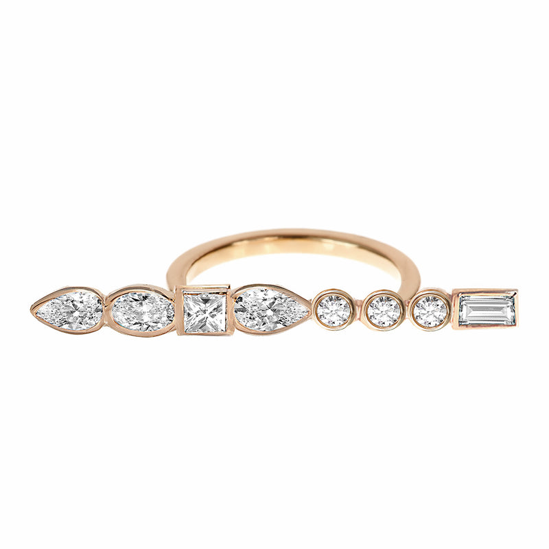 Diamond Long Bar Ring Rose Gold - Stepping Stone Collection by ILANA ARIEL