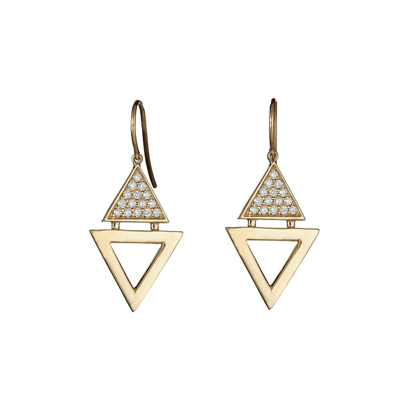 Double Triangle Single Earrings Yellow Gold by ILANA ARIEL