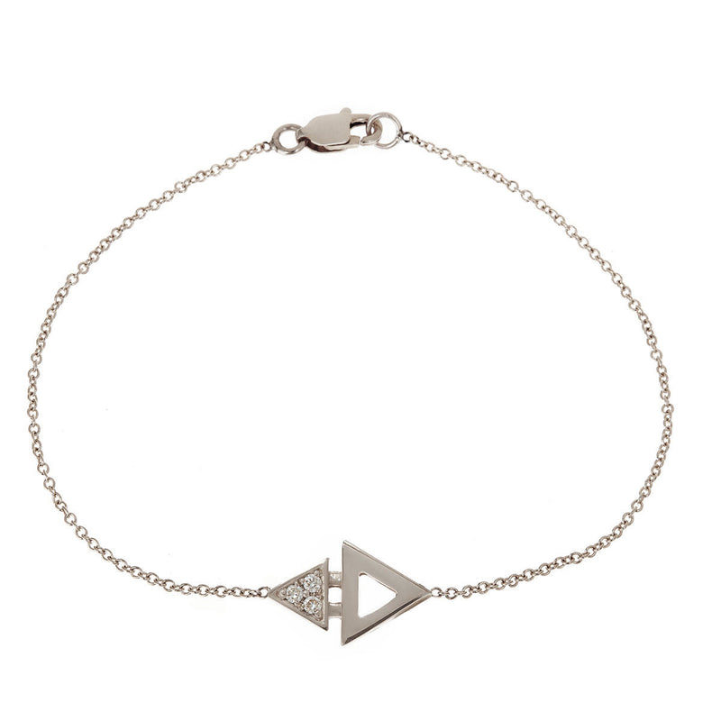 Mini Triangle Bracelet White Gold by ILANA ARIEL