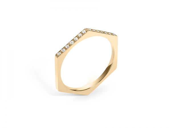 Hex Band Ring with Diamonds