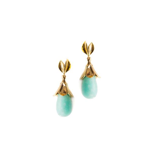 Lotus Earring - Mint Marble