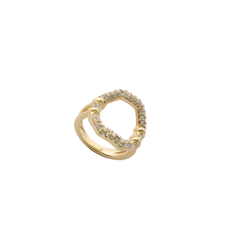 Crystal Pavé Octagon Ring
