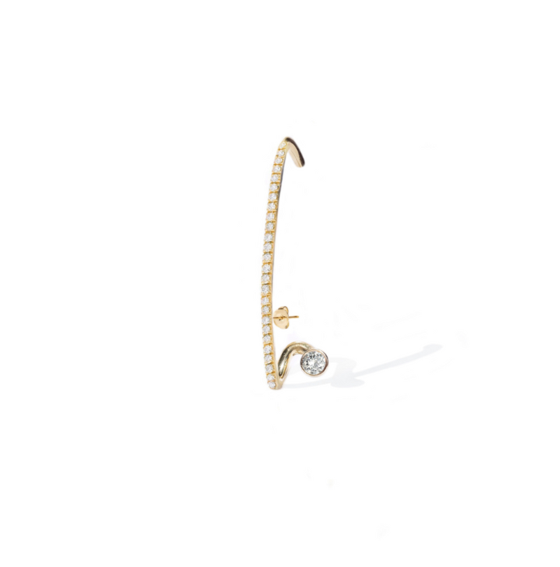 Crescendo Flare Pavé Yellow Gold Earring