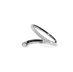 Crescendo Flare Ring - with White Gold Diamond Pavé