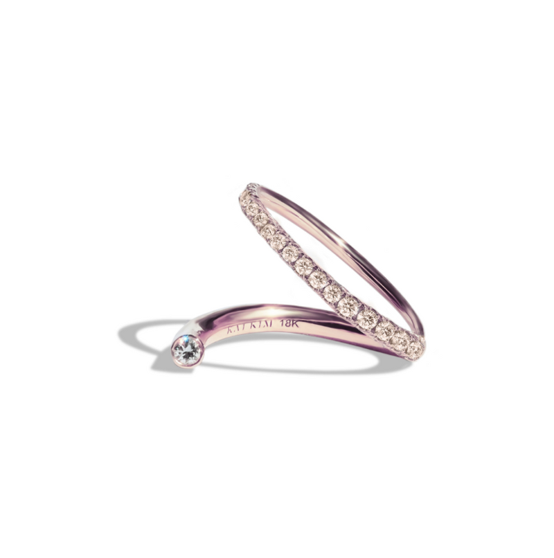 Crescendo Flare Diamond Pavé Ring - Rose Gold