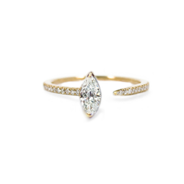 Marquise Crescendo Pavé Ring - Yellow Gold
