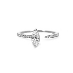 Marquise Crescendo Pavé Ring - White Gold